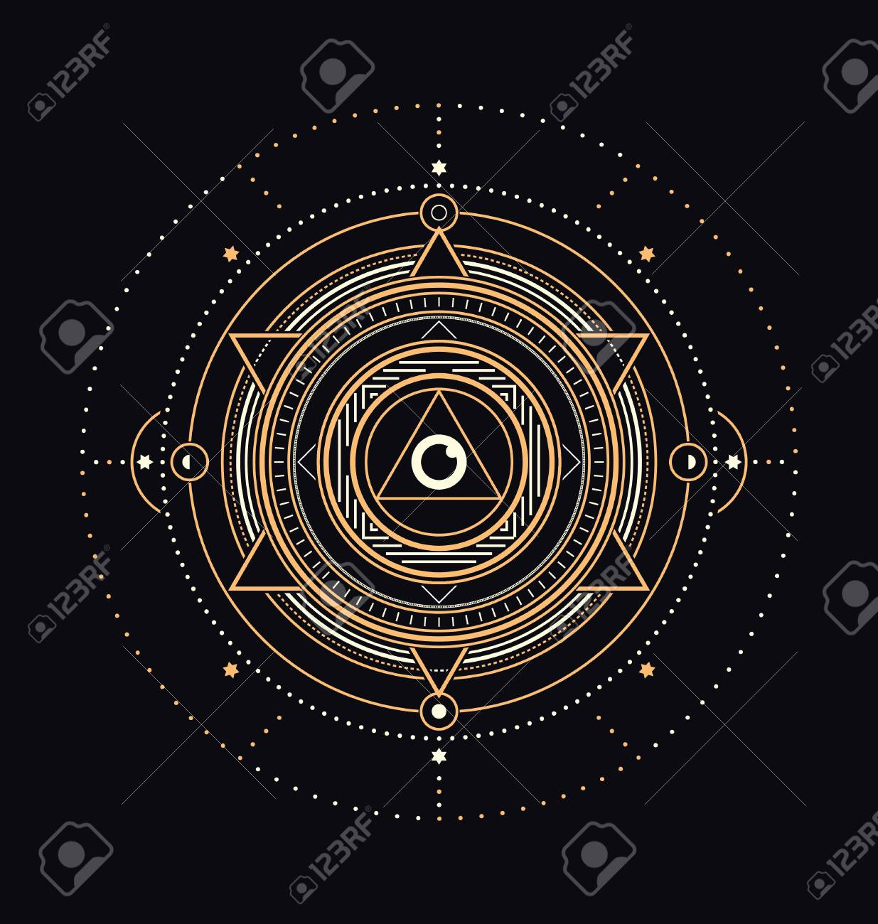 Sacred Symbols Design - Abstract Geometric Illustration - Gold and White Elements on Dark Background - 64270886