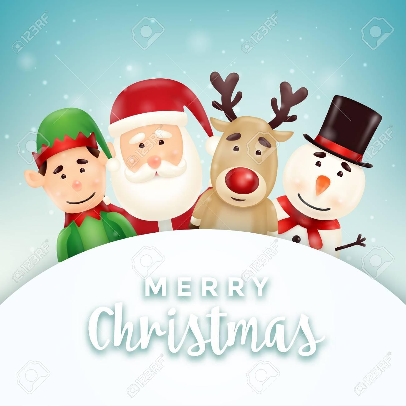 Christmas greeting card with cute santa snowman elf and reindeer christmas greeting card with cute santa snowman elf and reindeer characters stock vector kristyandbryce Gallery