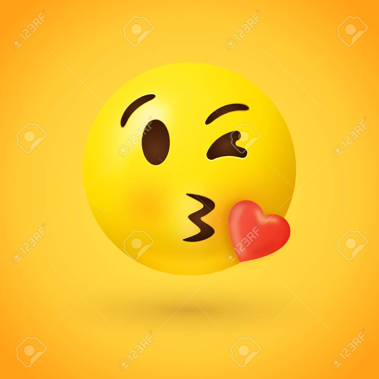 Kissing face emoji with red heart on yellow background - kiss
