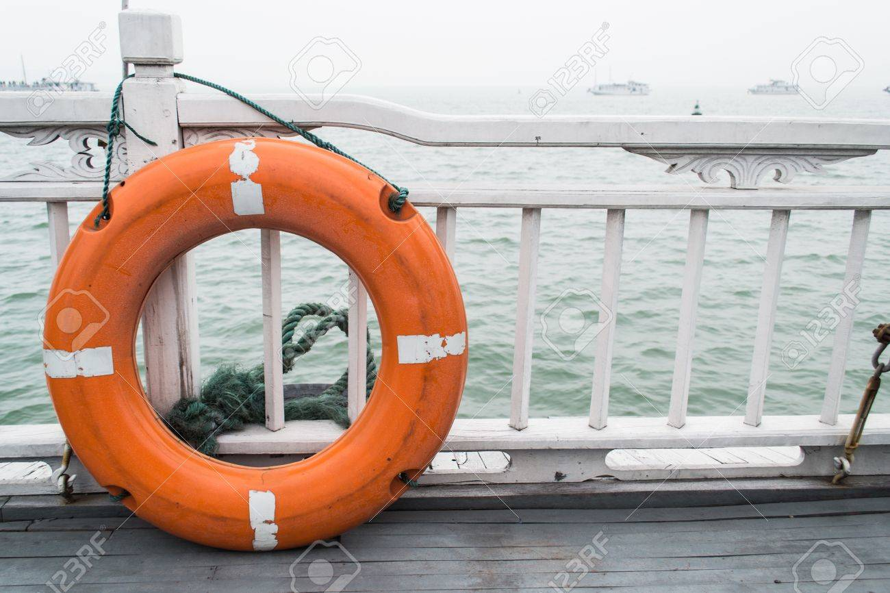 lifesaver buoy on terrace boat stock photo picture and royalty free
