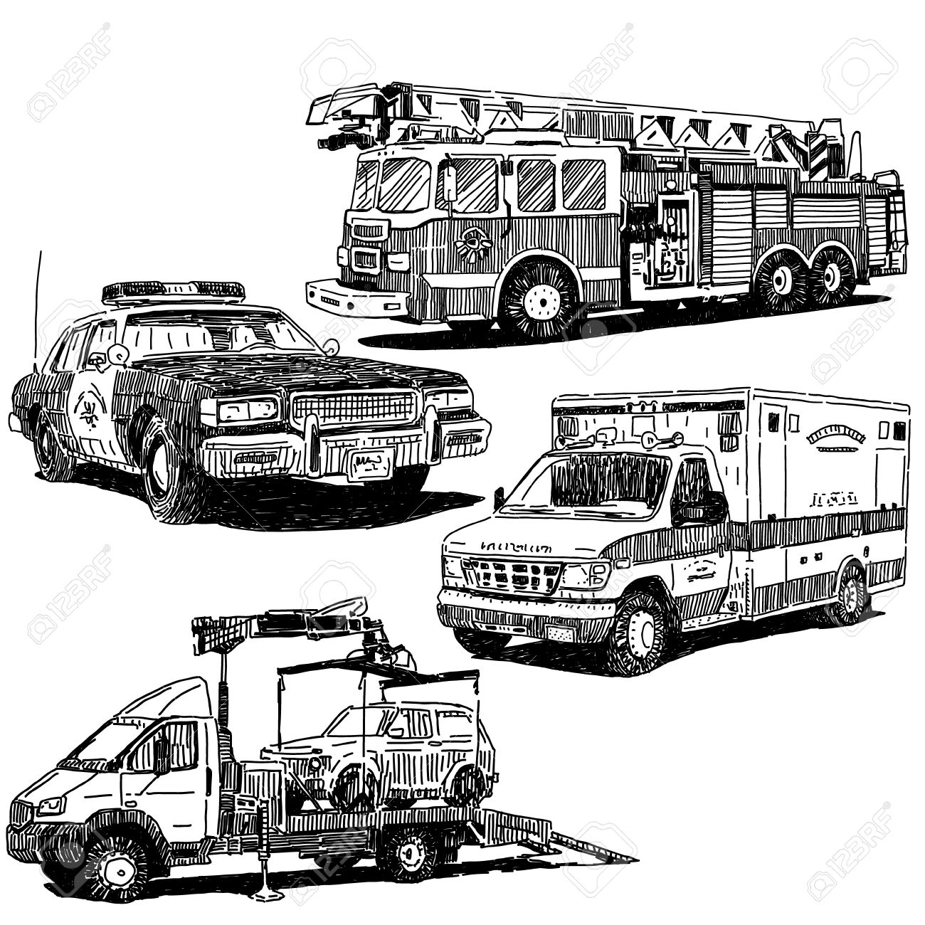 Fire truck, police car, ambulance and tow truck drawings set, sketch drawing style - 53071369