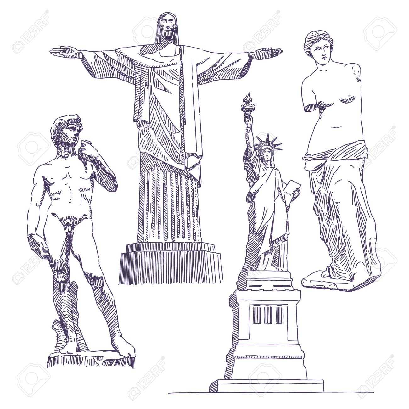 Famous Statues Drawings, Jesus, David, Venus De Milo, Statue Of Liberty  Stock