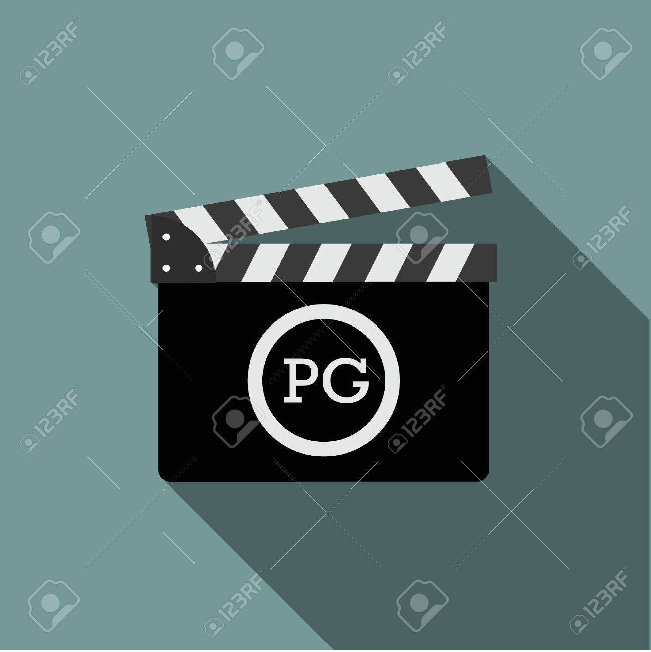 Movie Clapper With Rate Pg Royalty Free Cliparts Vectors And Stock