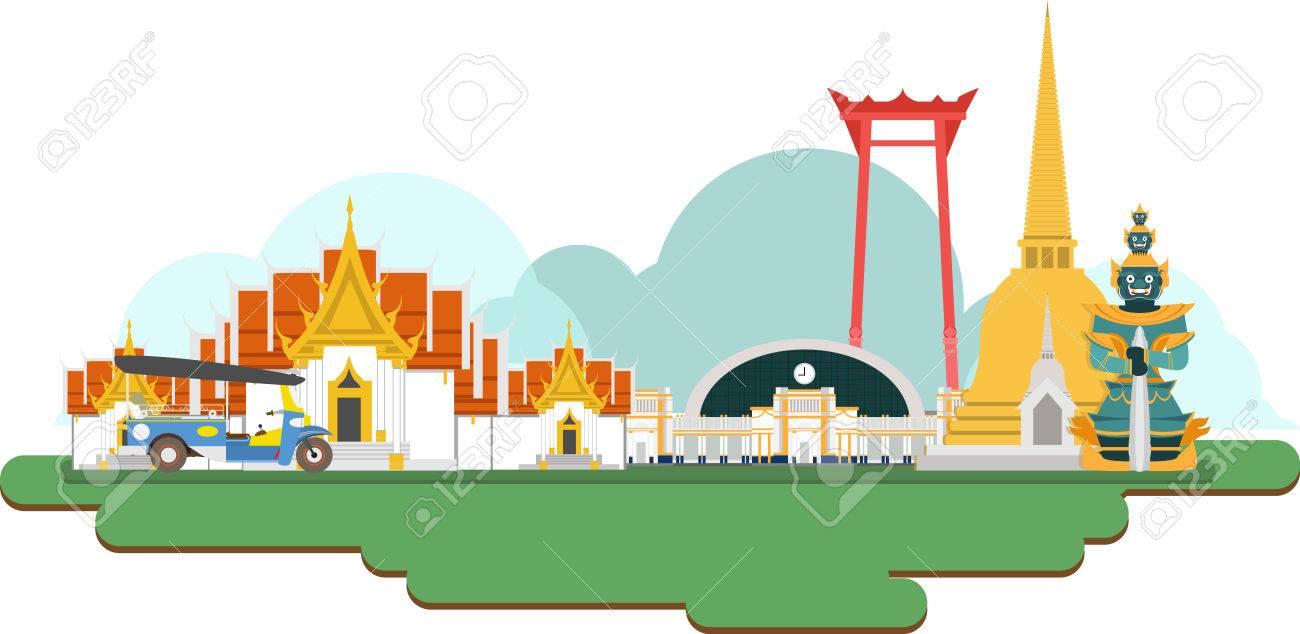 Thailand Travel Landmarks. Vector and Illustration - 61958888