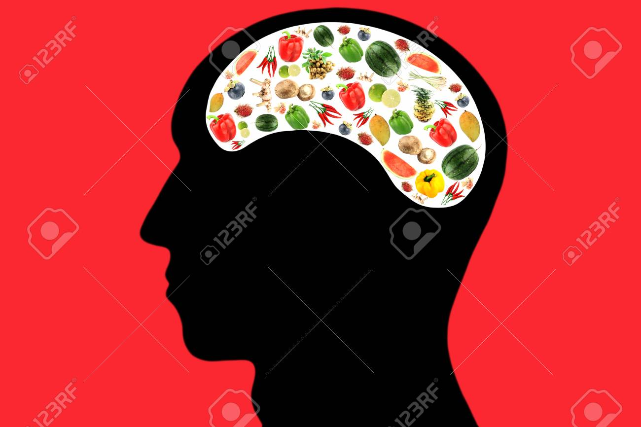 Vegetables and fruits in Head and white color Area,It reflects the care and love to eat good food. Stock Photo - 24000081