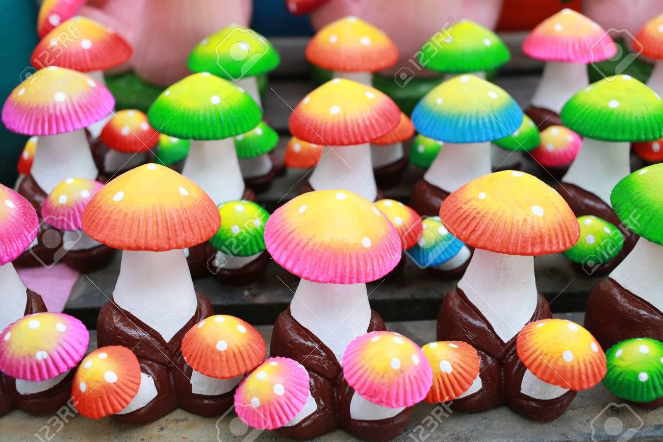 Fake Plaster Mushroom Molding For The Garden Decor Stock Photo