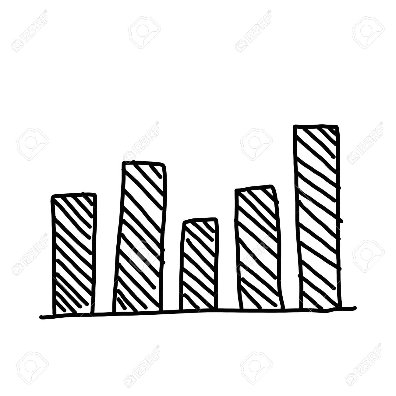 hand drawn a business bar graph show to concept of data processing