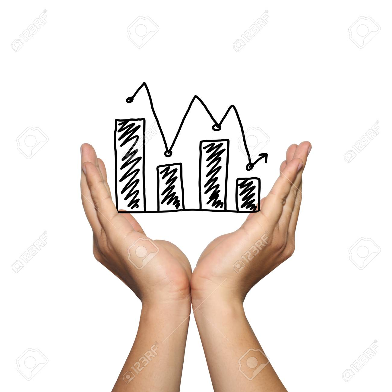 Symbol Of Business Bar Graph Downward Trend On Man Hand In Concept