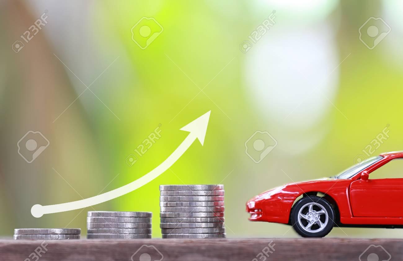 De Rojo Y AutomotricesGráfico Coche Concepto Invertir En Moneda Juguete Pila Negocios QdEeoxWrCB
