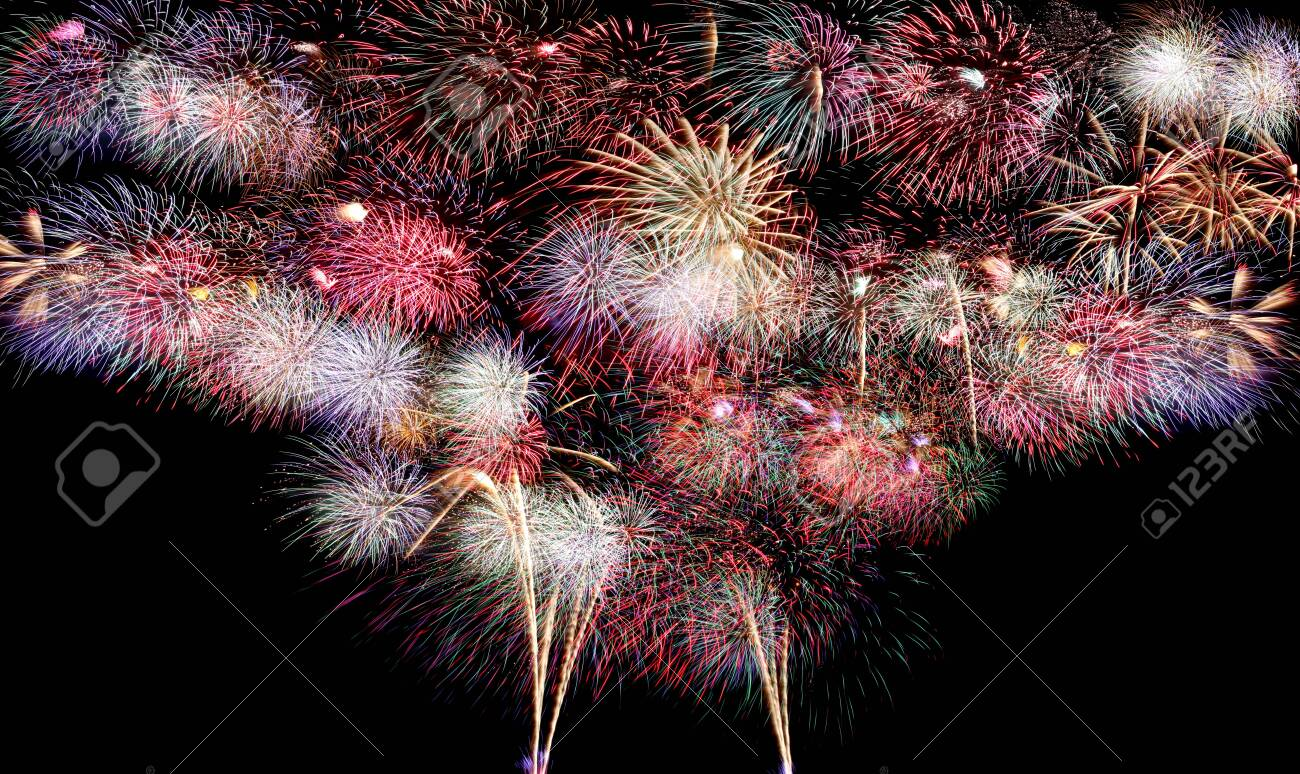 Variety of colors Mix Fireworks or firecracker backdrop in the darkness background. - 130110097