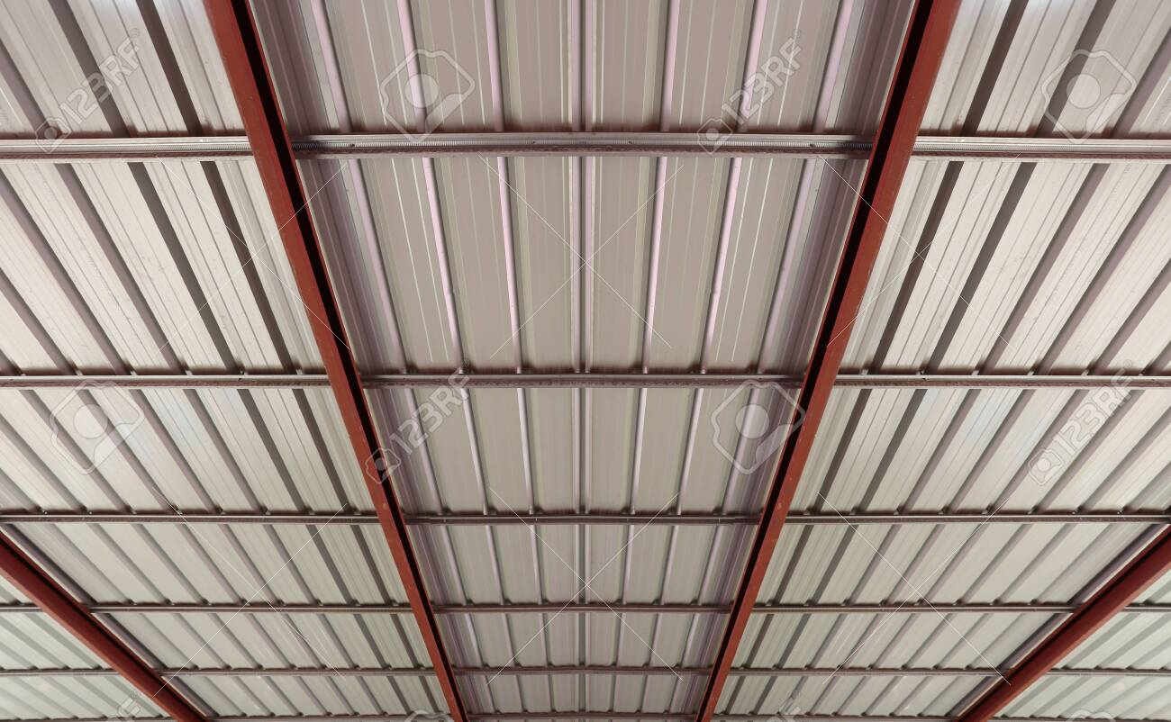 View Under The Metal Sheet Roof Roof Structure Background For Stock Photo Picture And Royalty Free Image Image 141367935