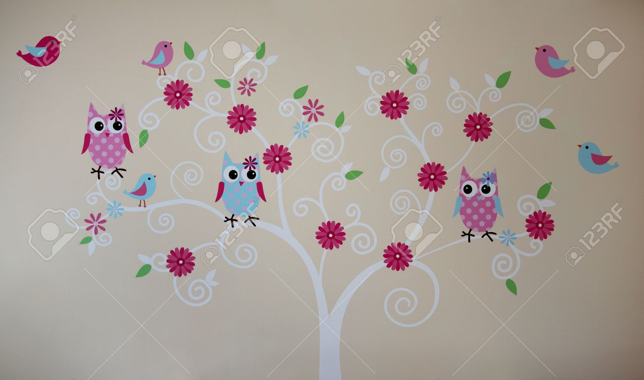 Owls And Birds On The Tree Wall Painting