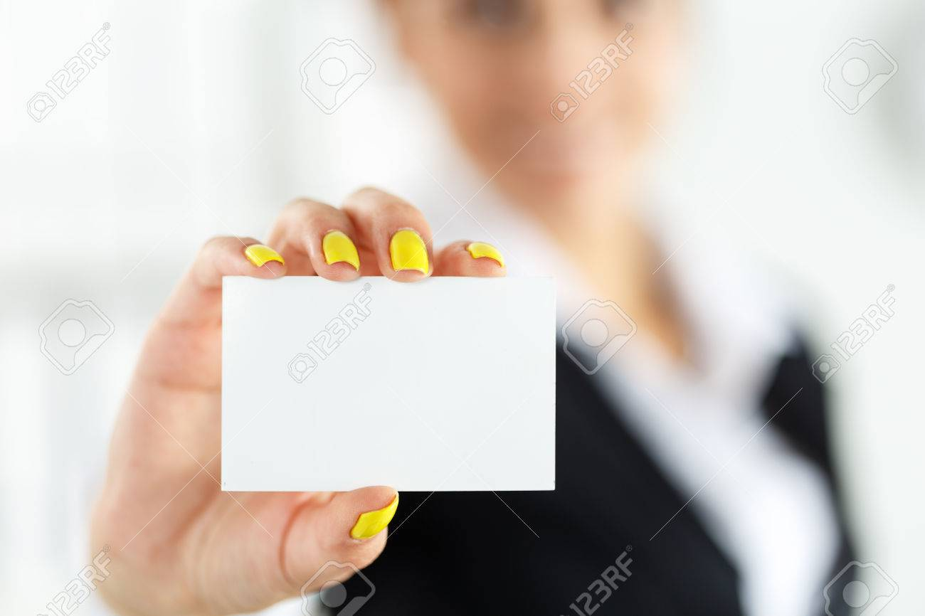 Businesswoman In Suit Hand Holding Blank Calling Card. Female Hand ...