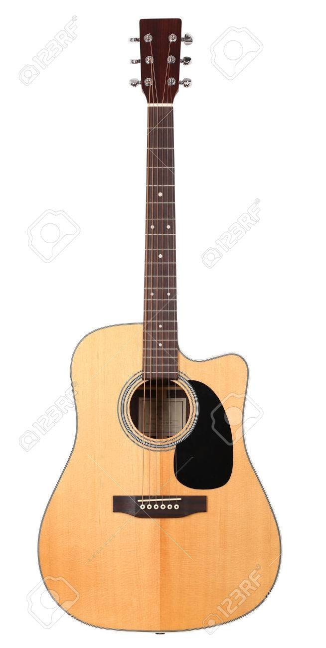 Classic Shape Western Acoustic Guitar Isolated White Background