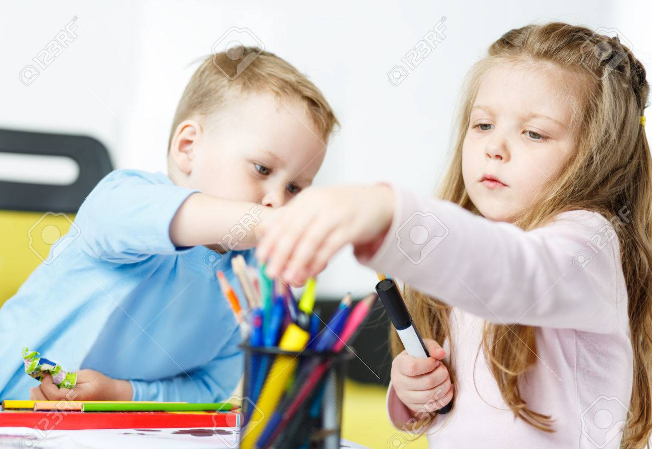 Children Playing Little Boy And Girl Spending Time Together