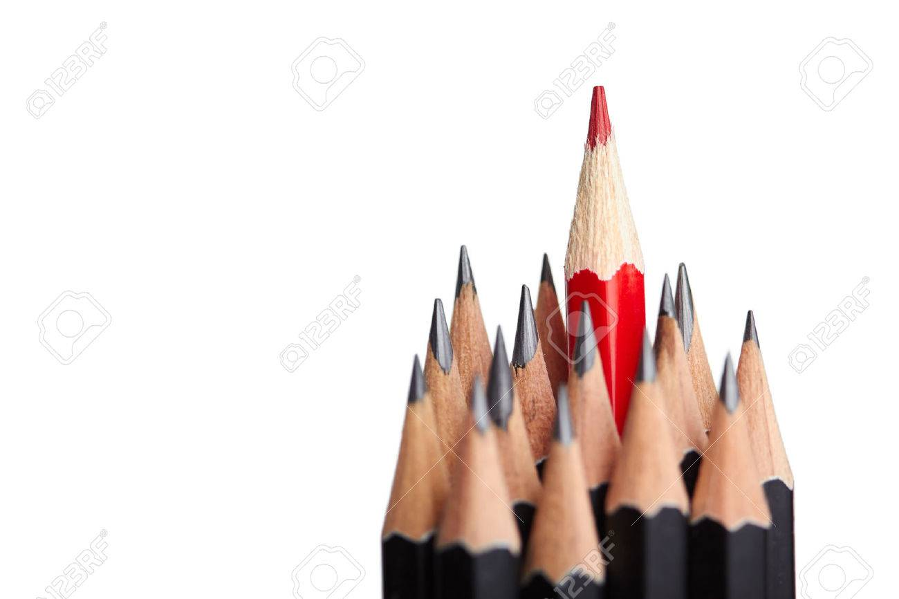 Red pencil standing out from crowd of plenty identical black fellows on white background. - 47107463