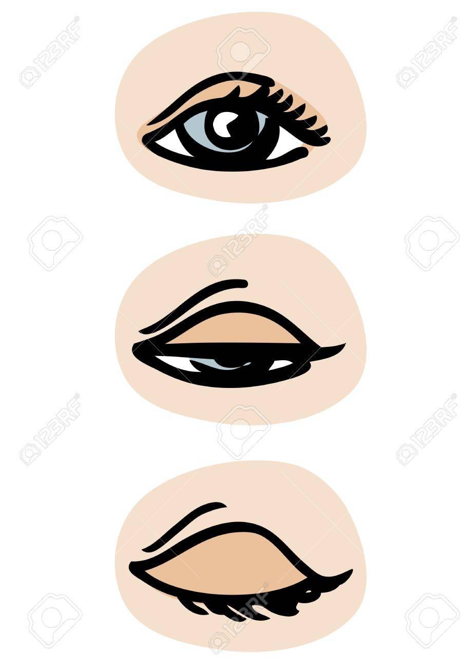 three phases of a blinking eye royalty free cliparts vectors and rh 123rf com Cartoon Blinking Eyes Eyes Blinking Icon
