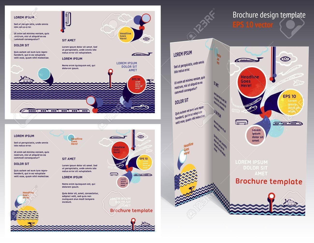 Brochure, Booklet Z-fold 2-sides Layout. Editable Design Template ...