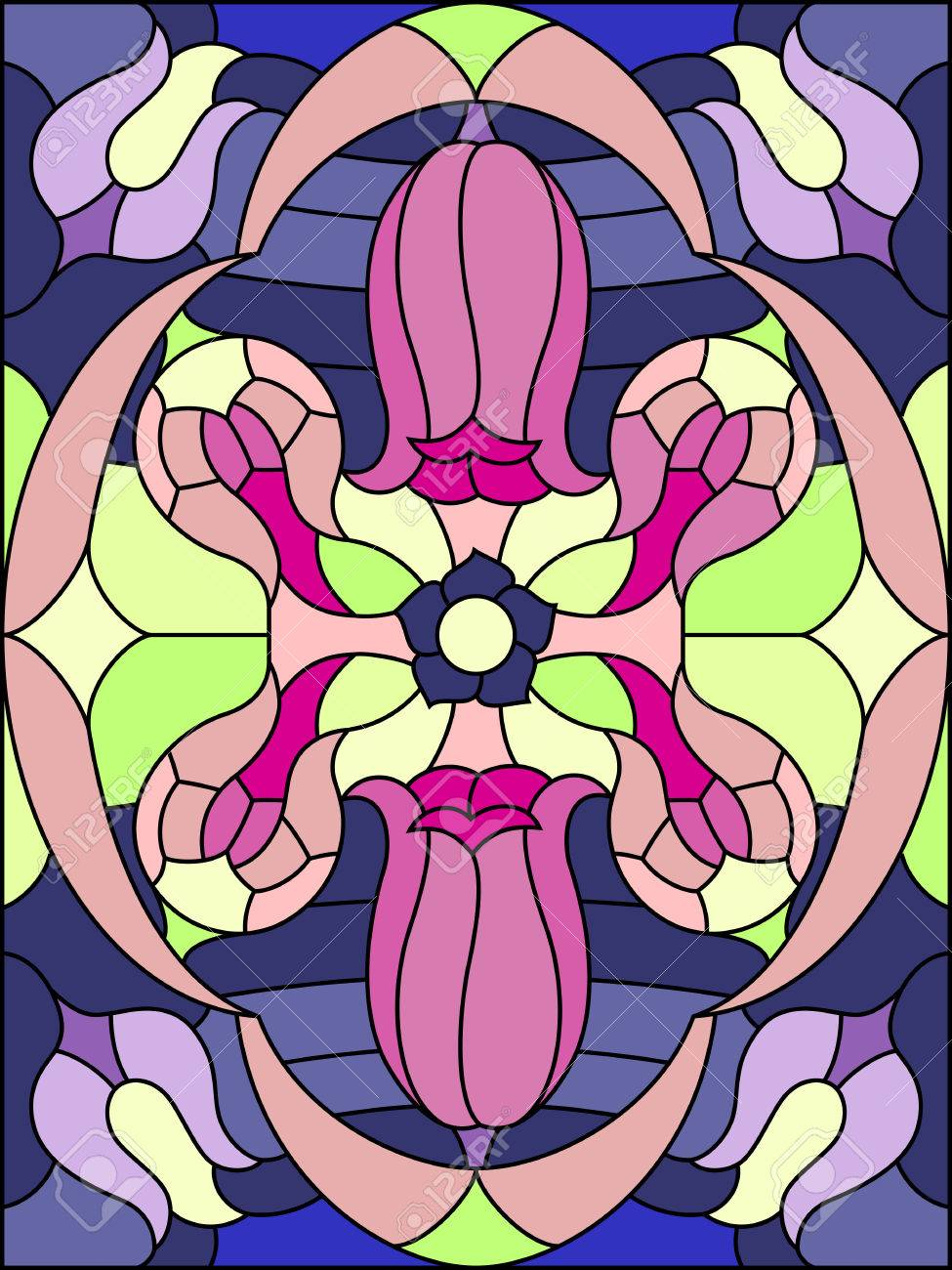 Stained glass window patterns flowers