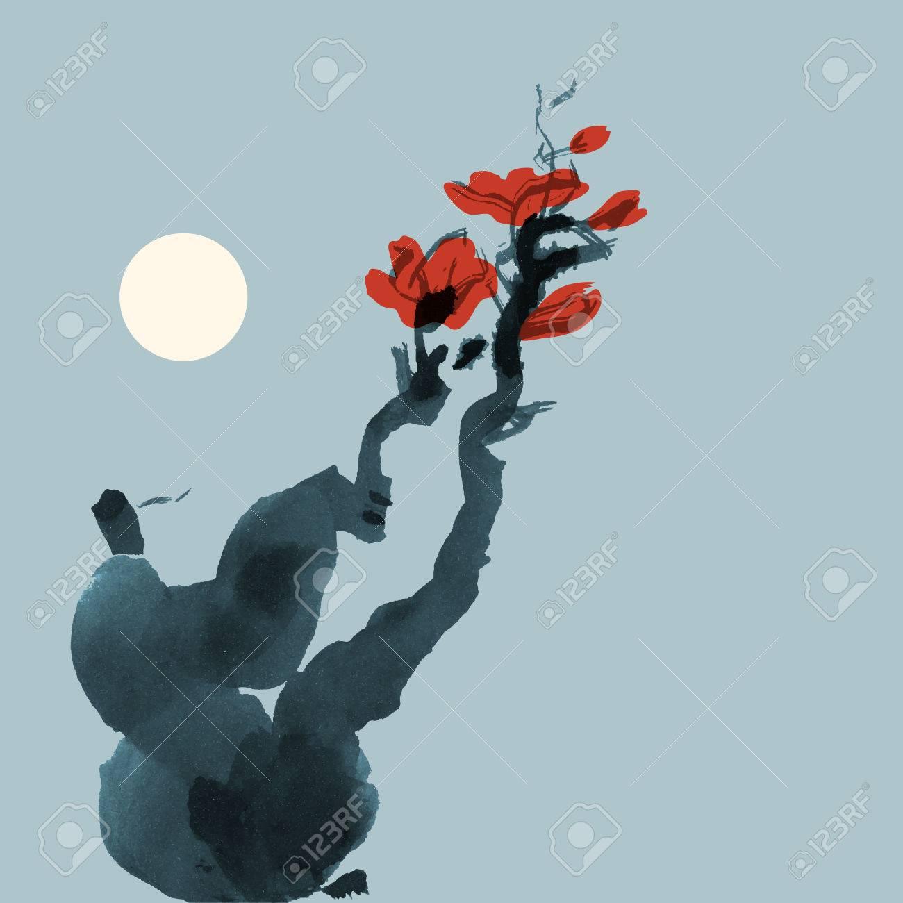 Modele De Carte De Voeux Dans Le Style Japonais Floraison Arbre Dessin A L Encre Vectorized Clip Art Libres De Droits Vecteurs Et Illustration Image 42091997