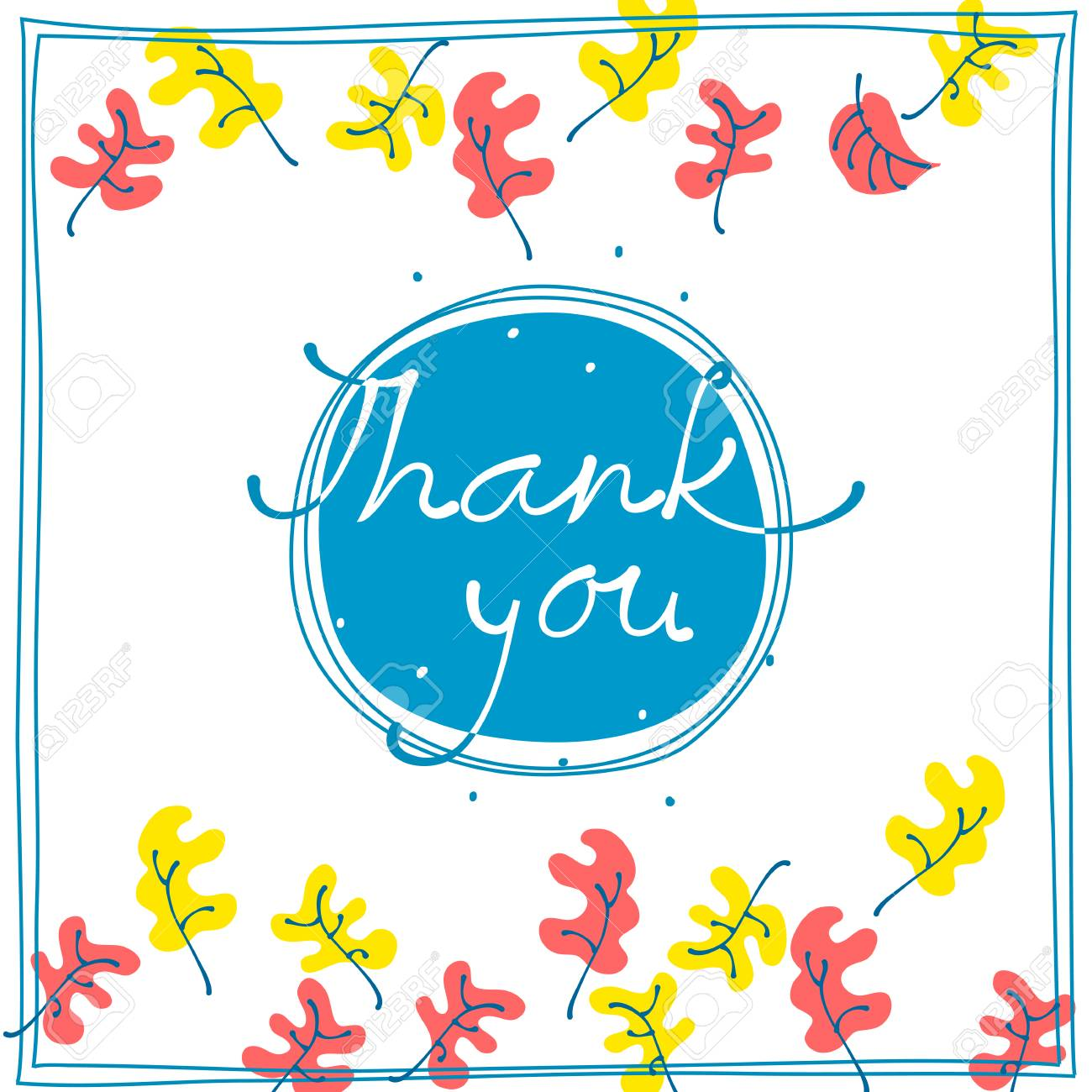 Thank you card design template simple greeting card elegant thank you card design template simple greeting card elegant with falling leaves on blue background kristyandbryce Gallery