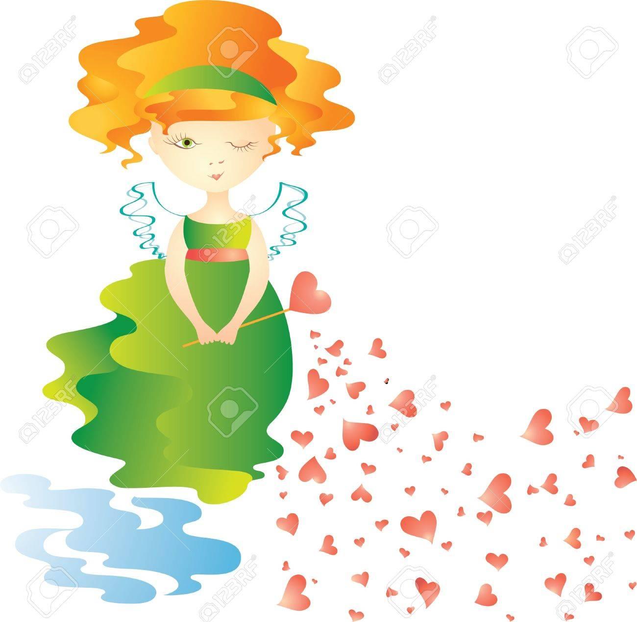 Love fairy with magic wand. Vector illustration Stock Vector - 9317626