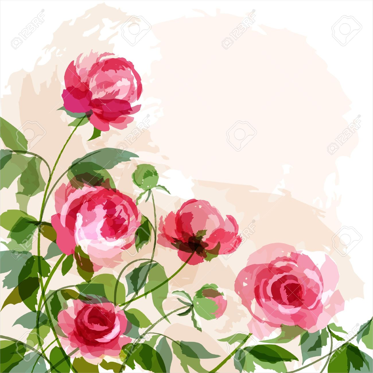 Romantic background with peonies. Stock Vector - 9519069
