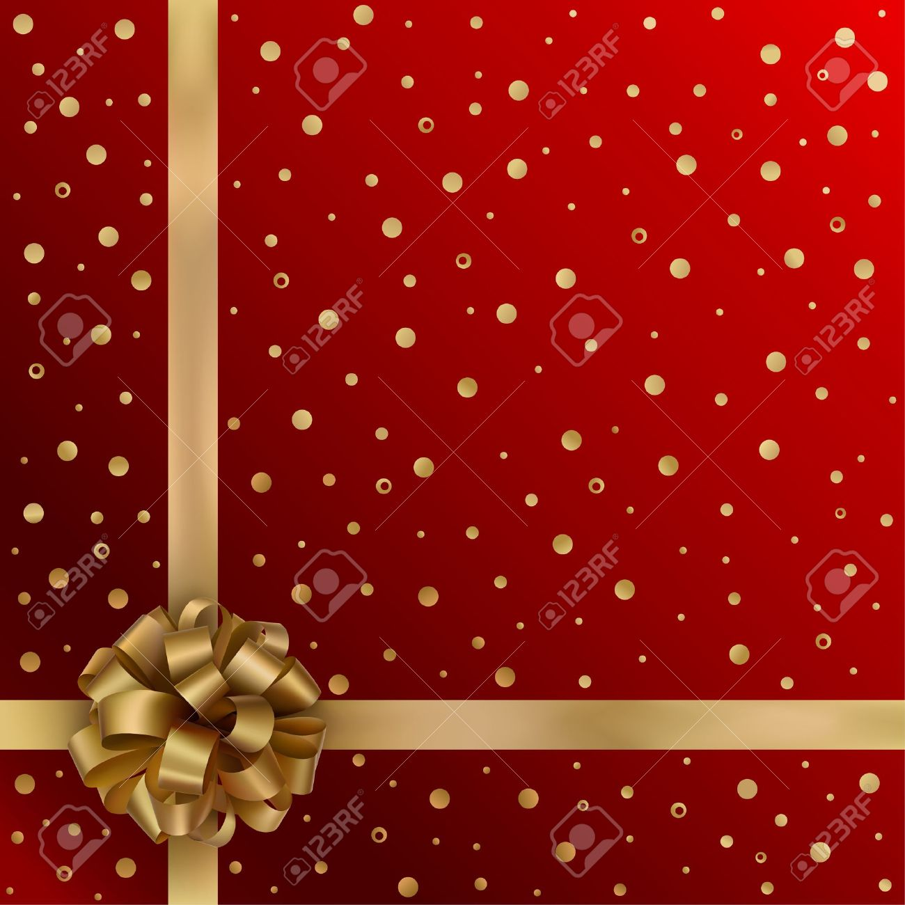 Gold festive ribbon with bow on red background - 11571269