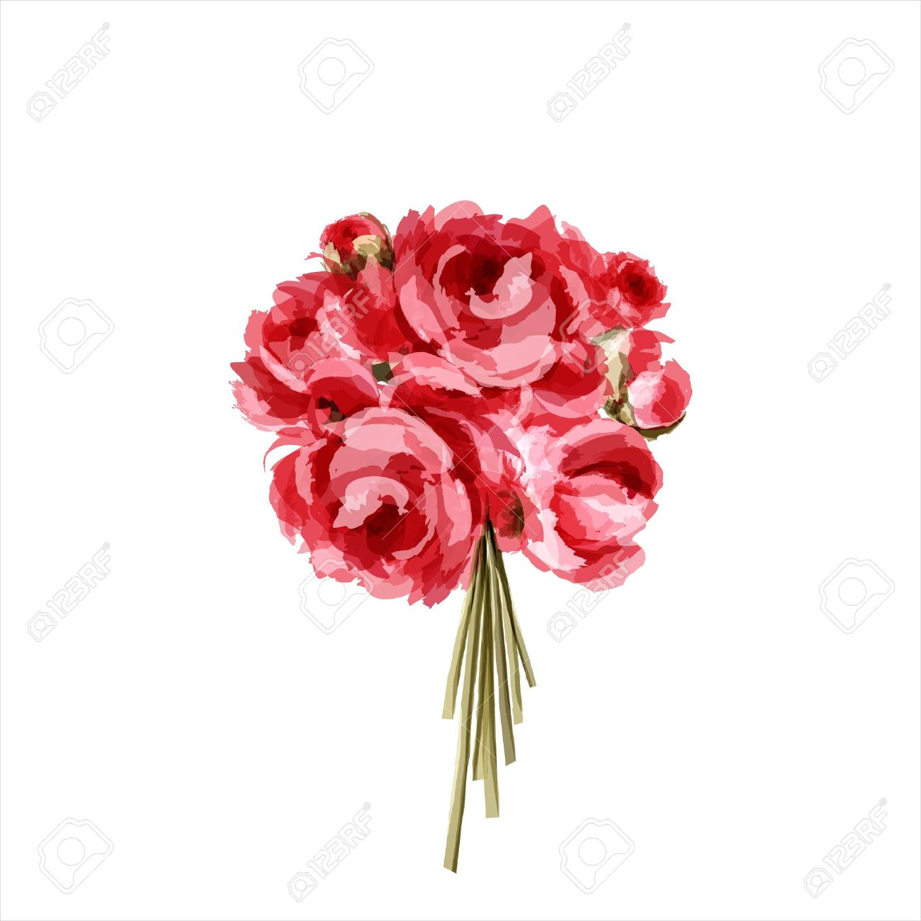 Bouquet of peonies  All elements are separate Stock Vector - 12496762