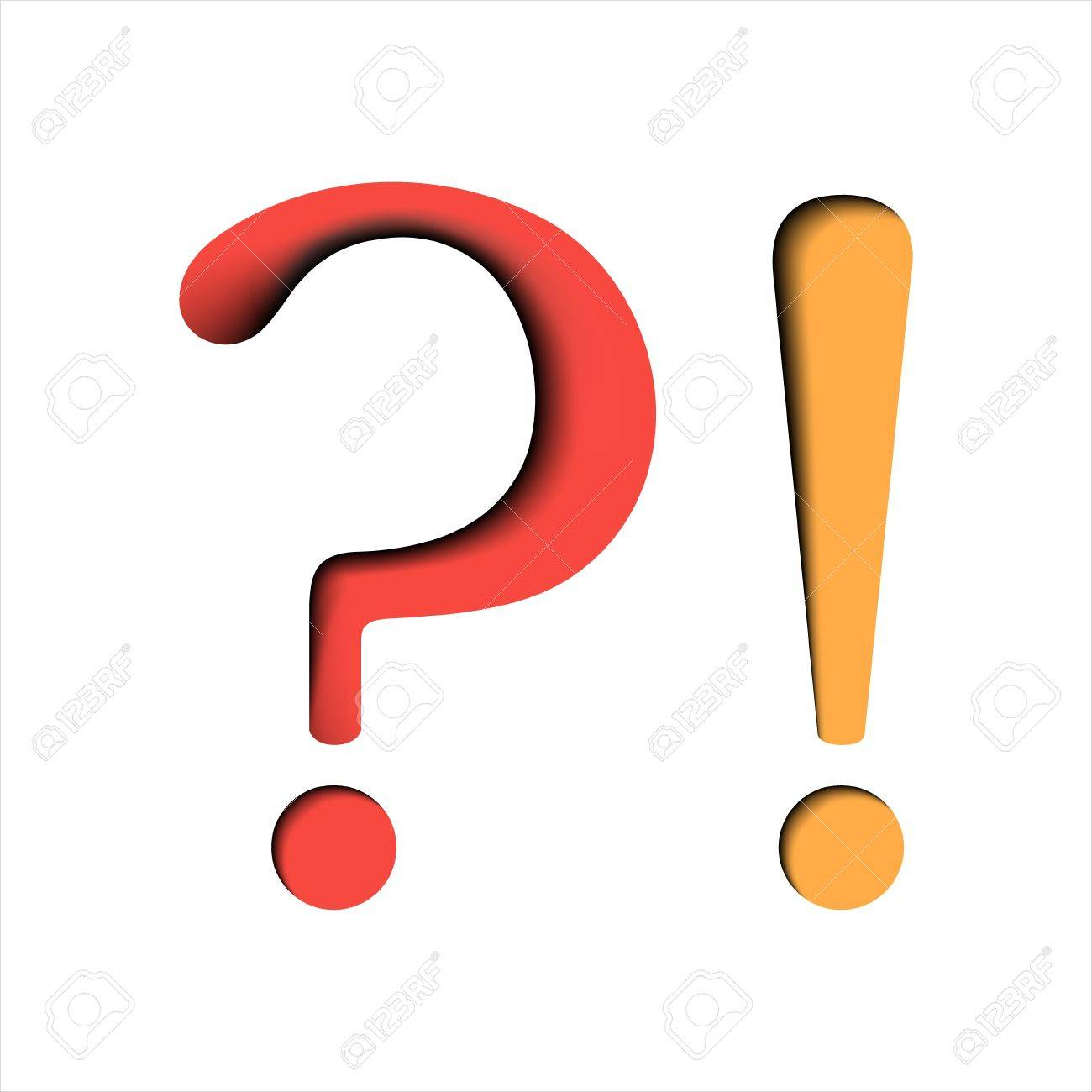 Question and exclamation marks on white background Stock Vector - 12931200