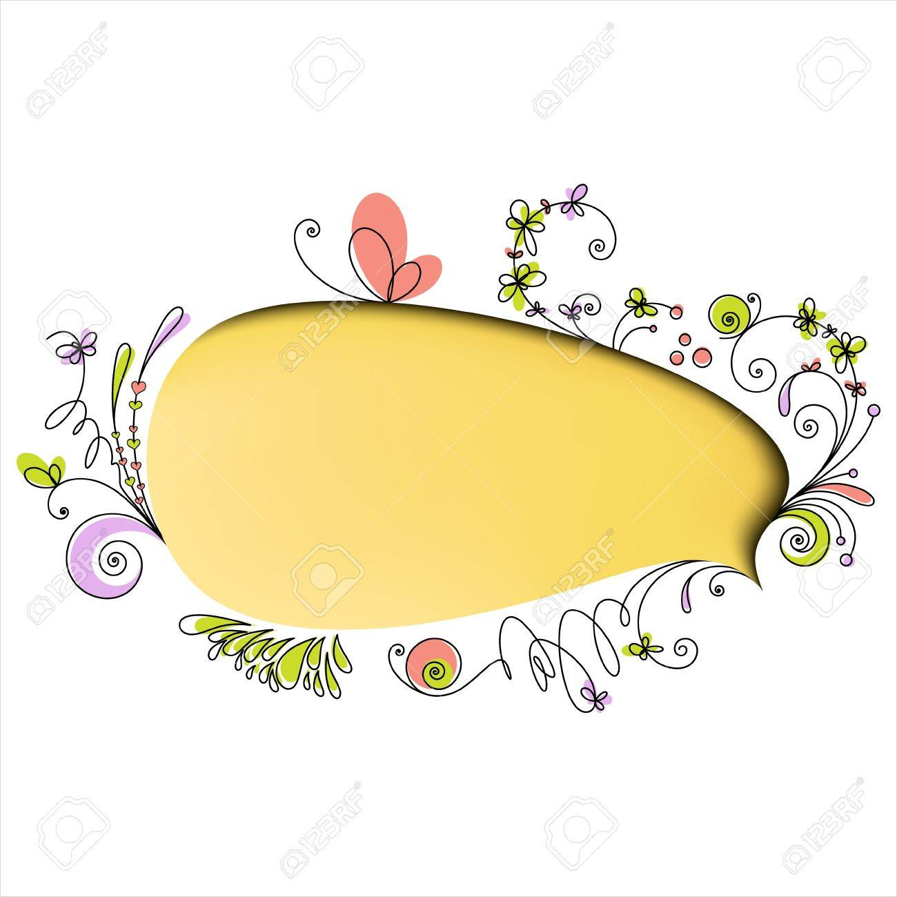 Yellow speech bubble with floral elements on white background Stock Vector - 12995985