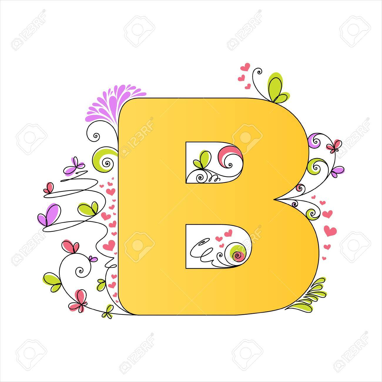 illustration of colorful floral alphabet letter b royalty free