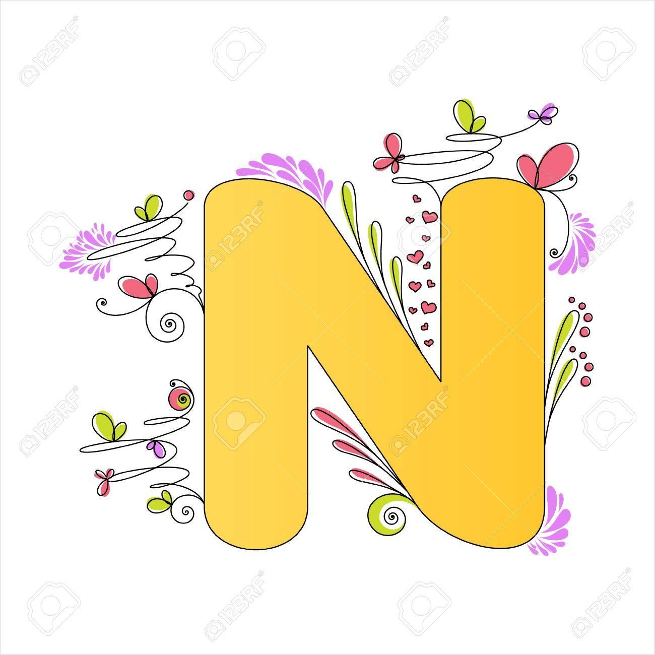 カラフルな花アルファベット文字 N のイラストのイラスト素材ベクタ
