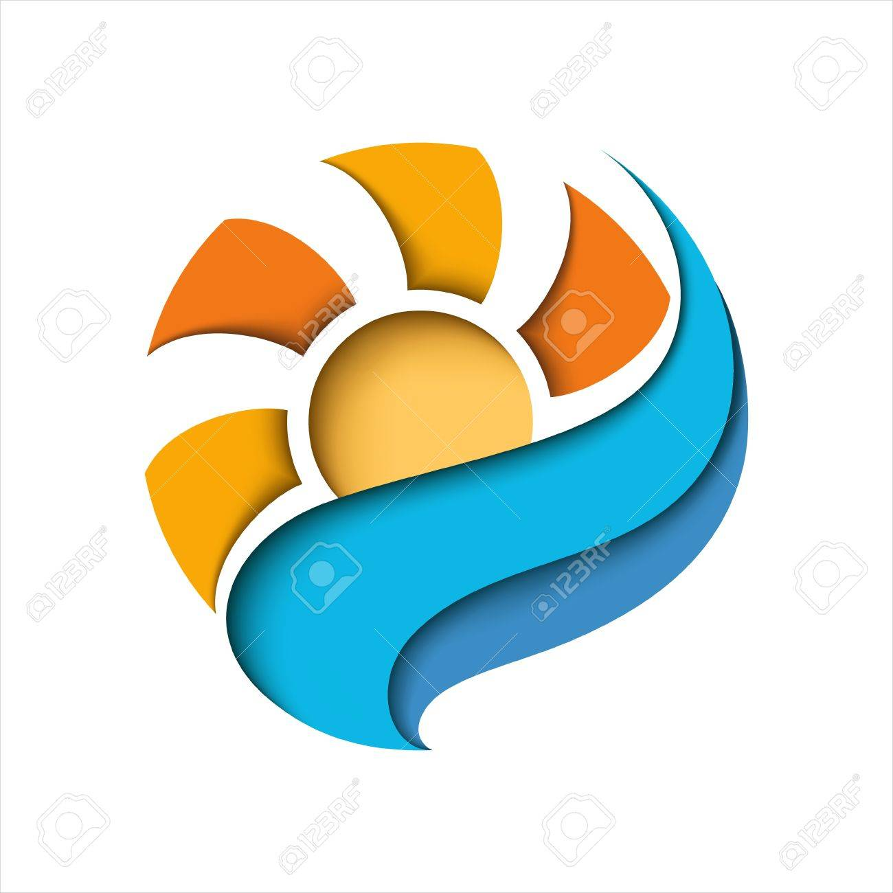 Abstract sun in a blue cloud  Stylized illustration Stock Vector - 14317267