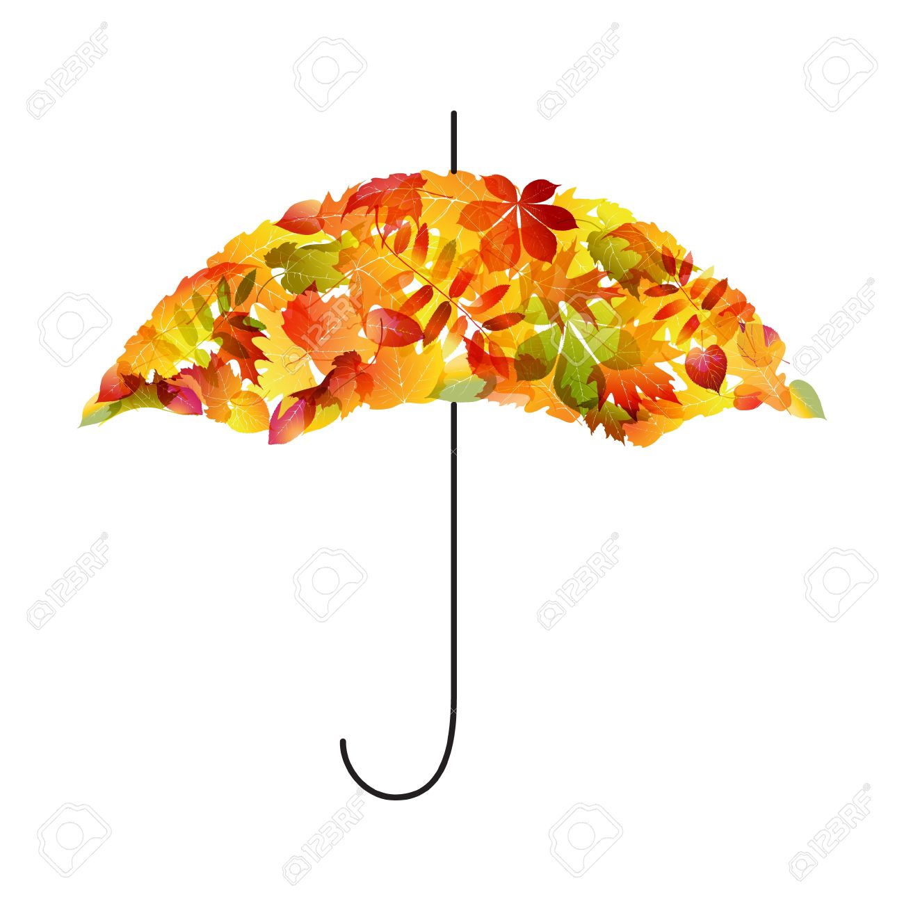 autumn background umbrella of leaves royalty free cliparts