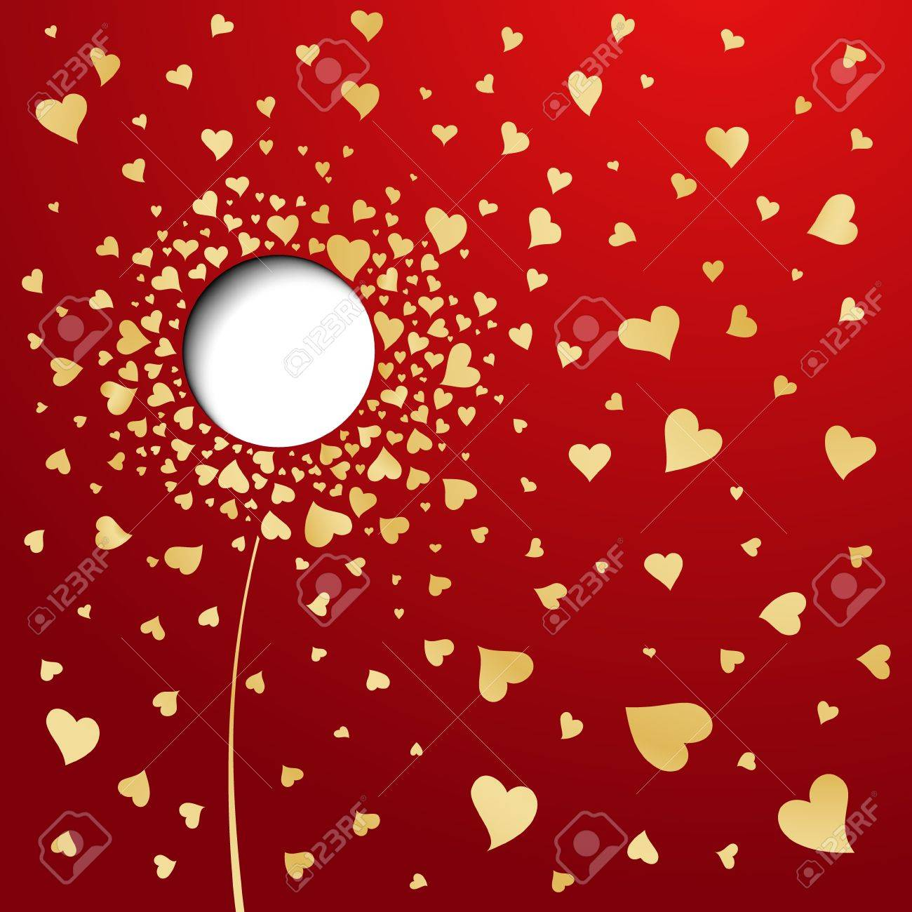Golden hearts on red background  Abstract flower Stock Vector - 16674490