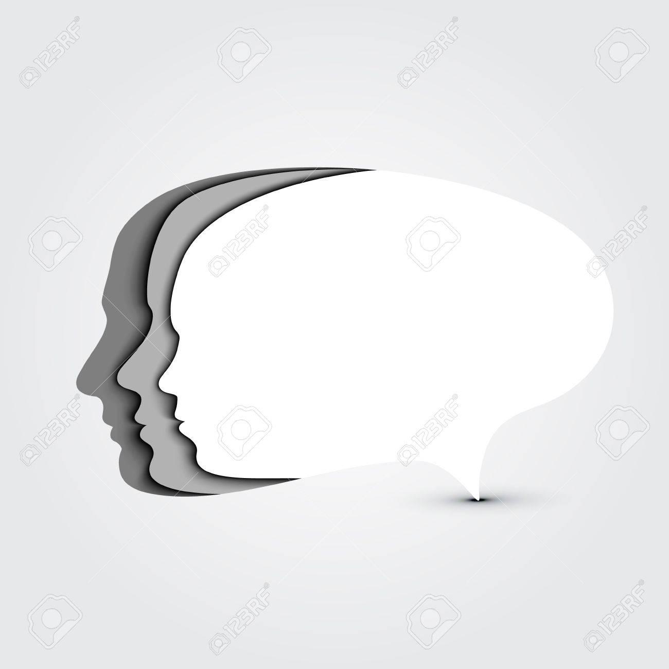 Concept speech bubble  Man, woman and child faces profiles Stock Vector - 16942600