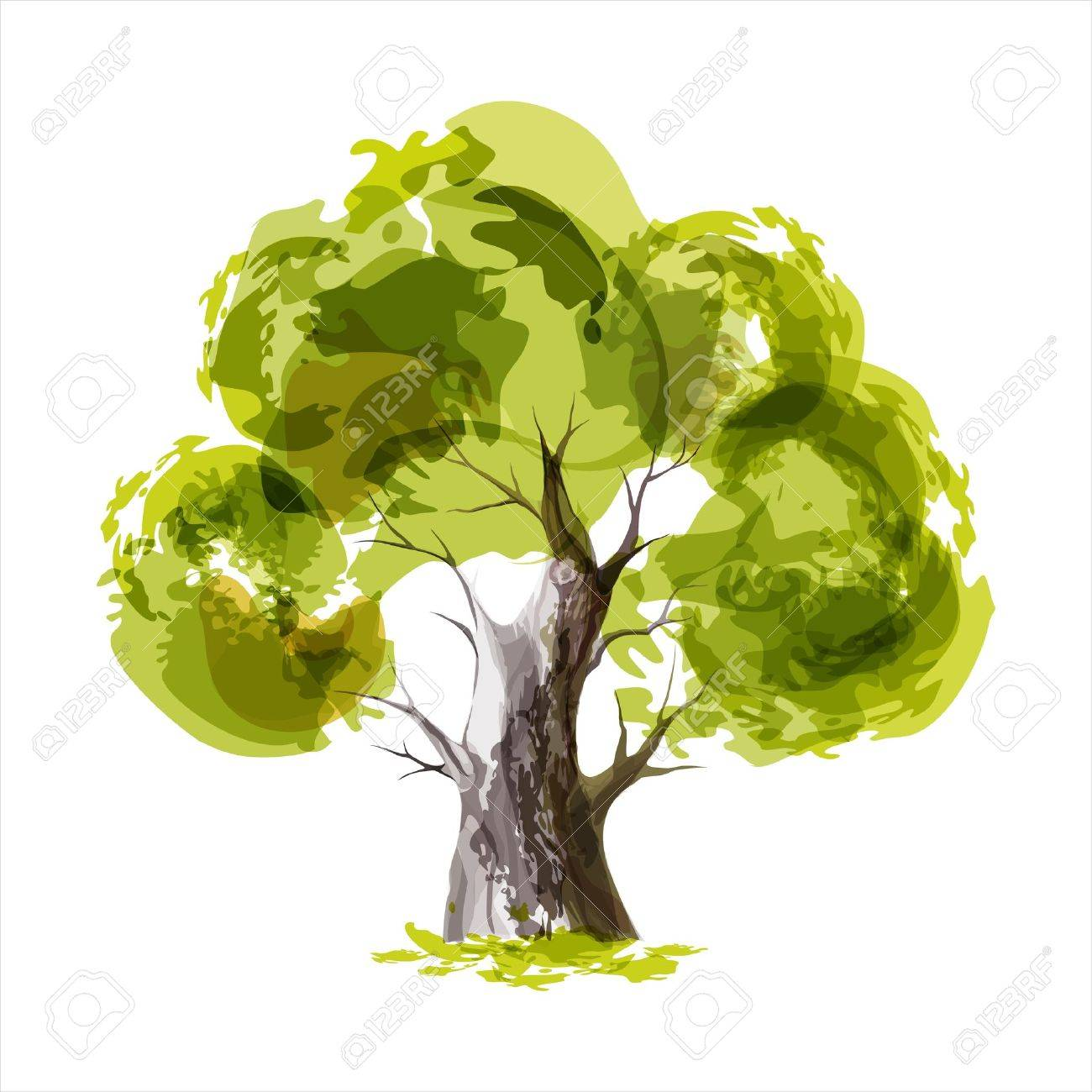 Abstract illustration of stylized green tree Stock Vector - 17226272