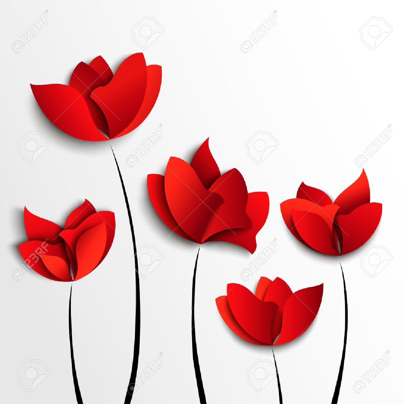 Five Red Paper Flowers On White Background Royalty Free Cliparts