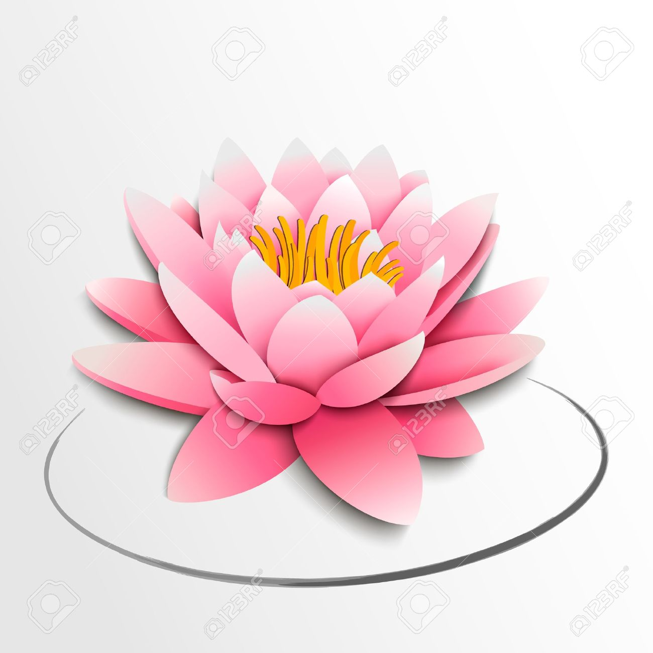 Pink Lotus Flower Paper Cutout Illustration Royalty Free Cliparts