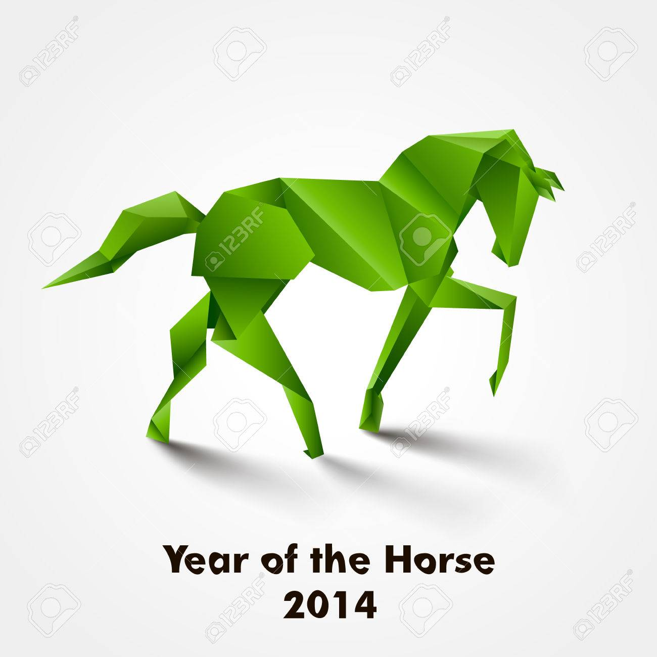 Year Of The Horse Design Green Origami Stock Vector