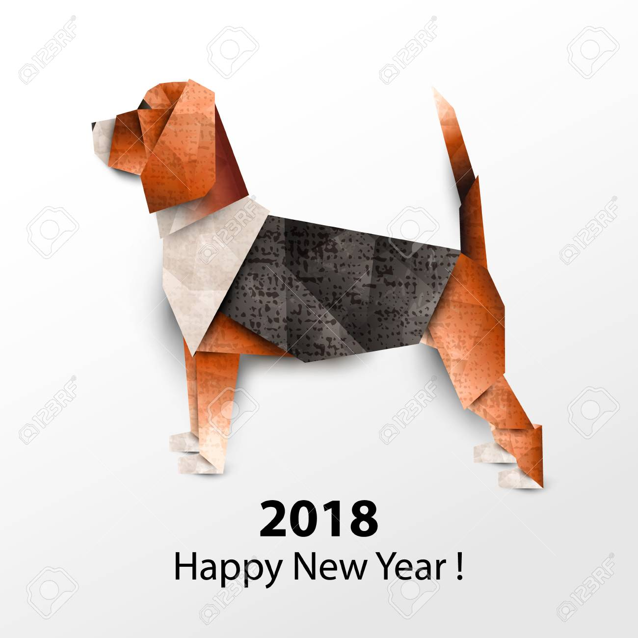 Dog Beagle Colored Paper Origami Vector Illustration 2018 Happy New Year Stock