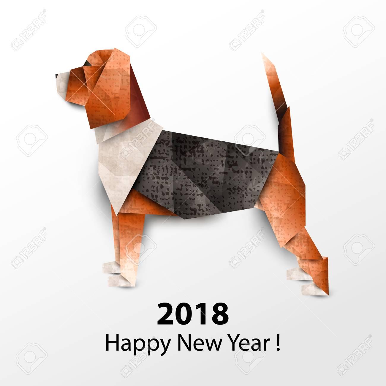 Perro Beagle. Origami De Papel Coloreado Ilustración Vectorial 2018 ...