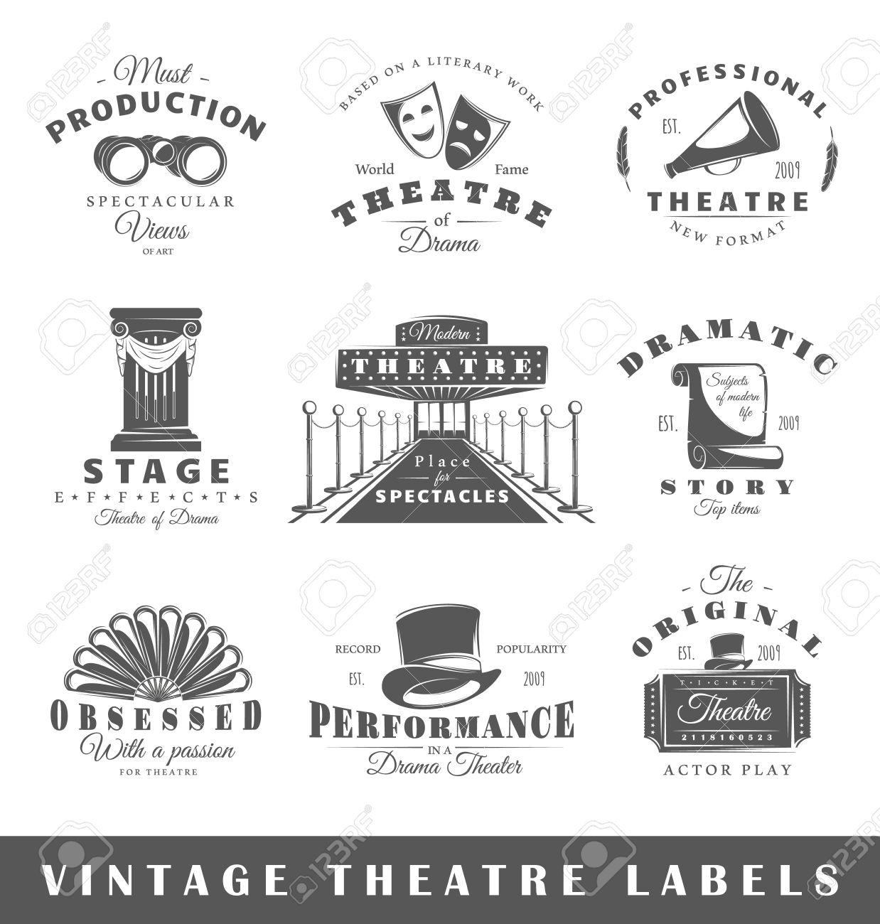 Set of theatre labels. Elements for design on the theatre theme. Collection of theatre symbols: mask, ticket, binocular. Modern labels of theatre. - 51266259