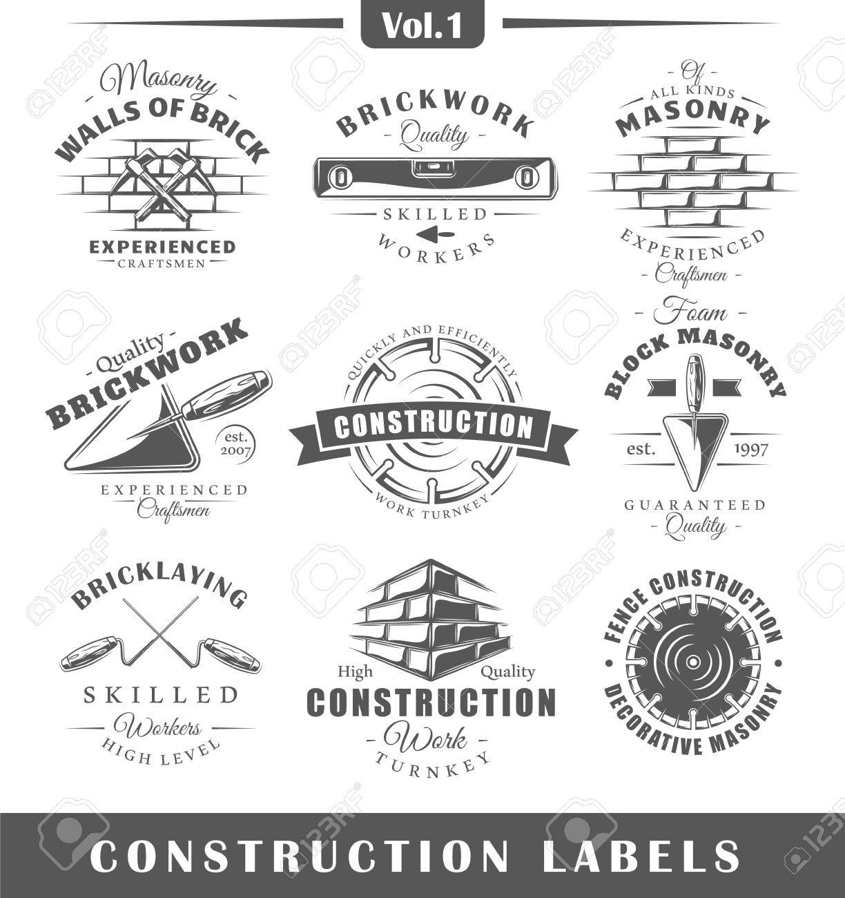 Set of vintage construction labels. Vol.1. Posters, stamps, banners and design elements. Vector illustration - 72232125