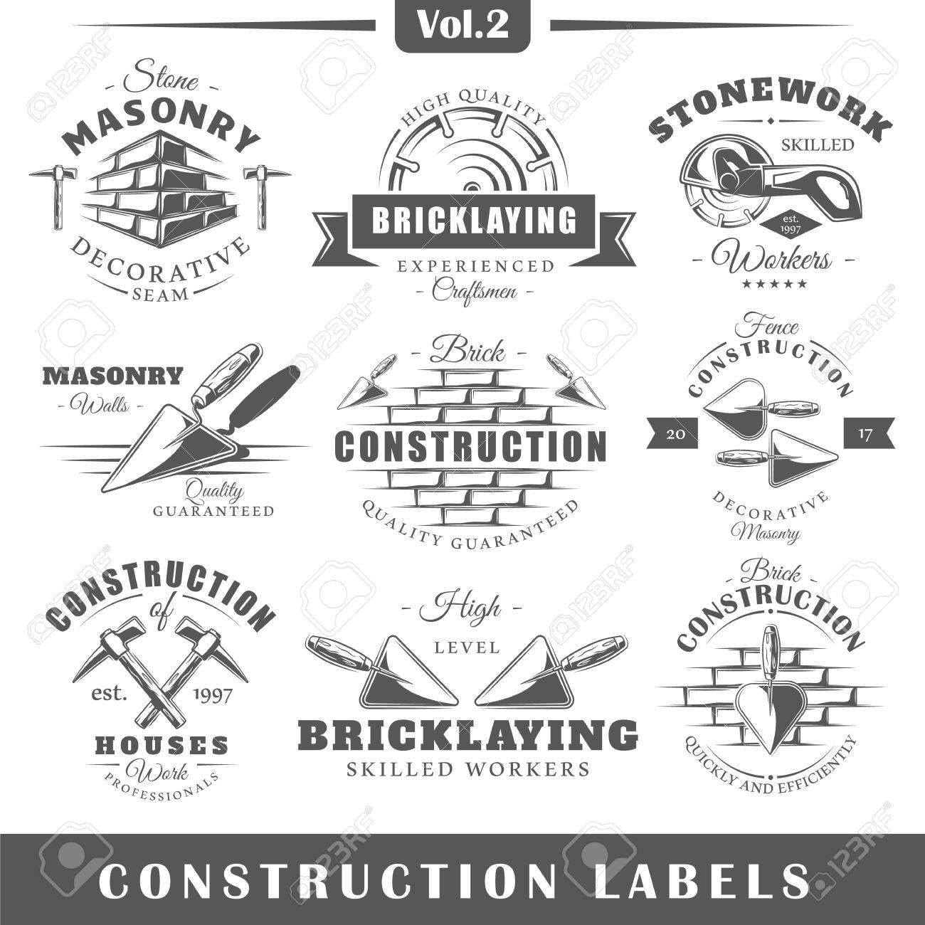 Set of vintage construction labels. Vol.2. Posters, stamps, banners and design elements. Vector illustration - 72232170