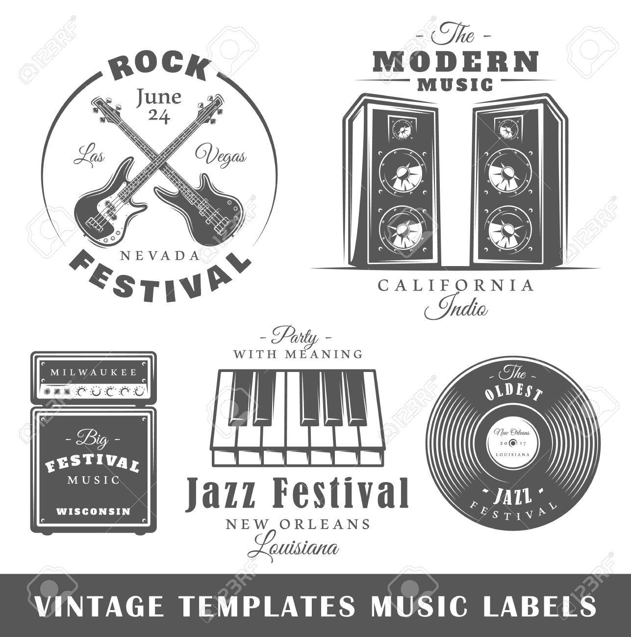 Set Of Vintage Musical Labels Templates. Elements For Design ...
