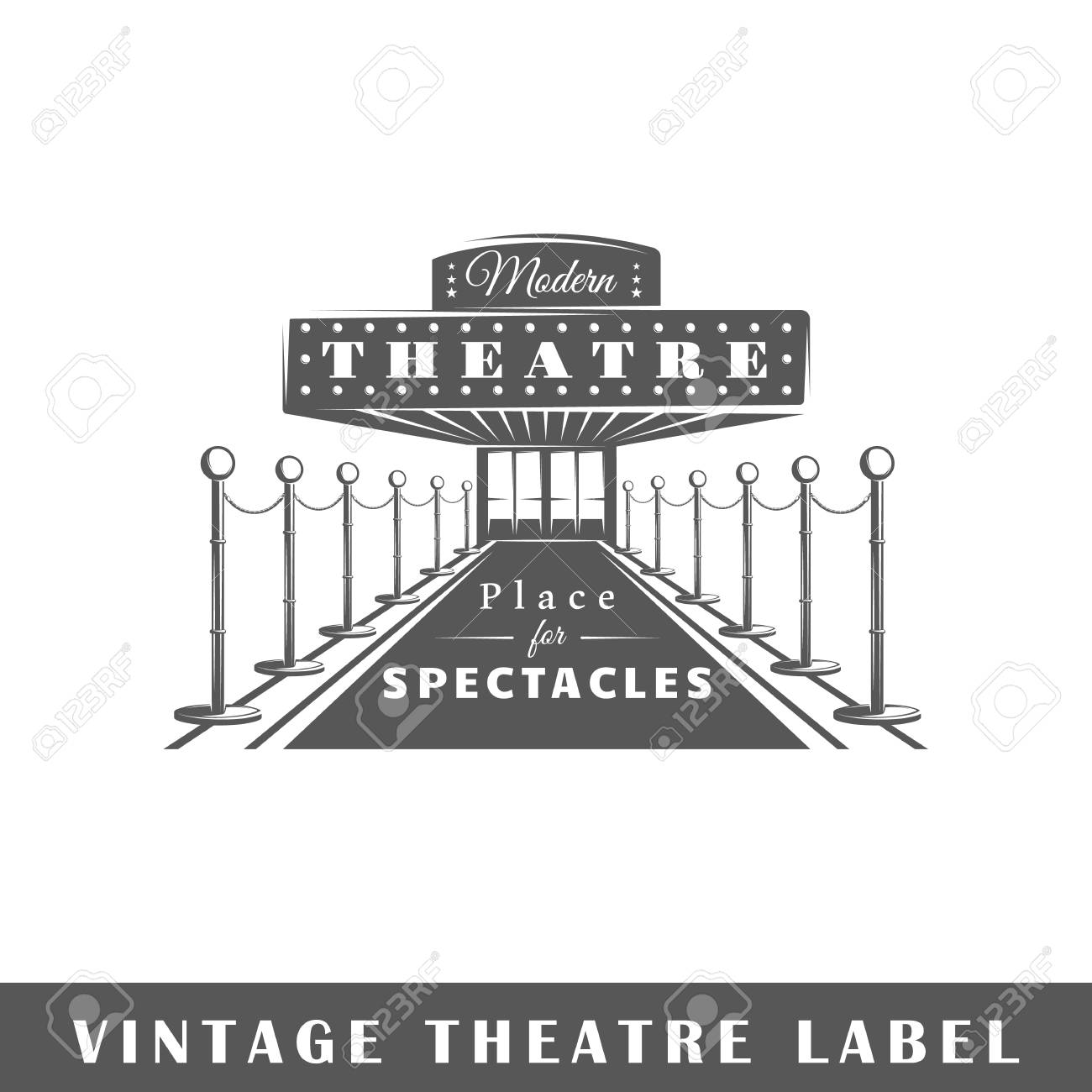 Etiqueta De Teatro Aislada Sobre Fondo Blanco. Elemento De Diseño ...