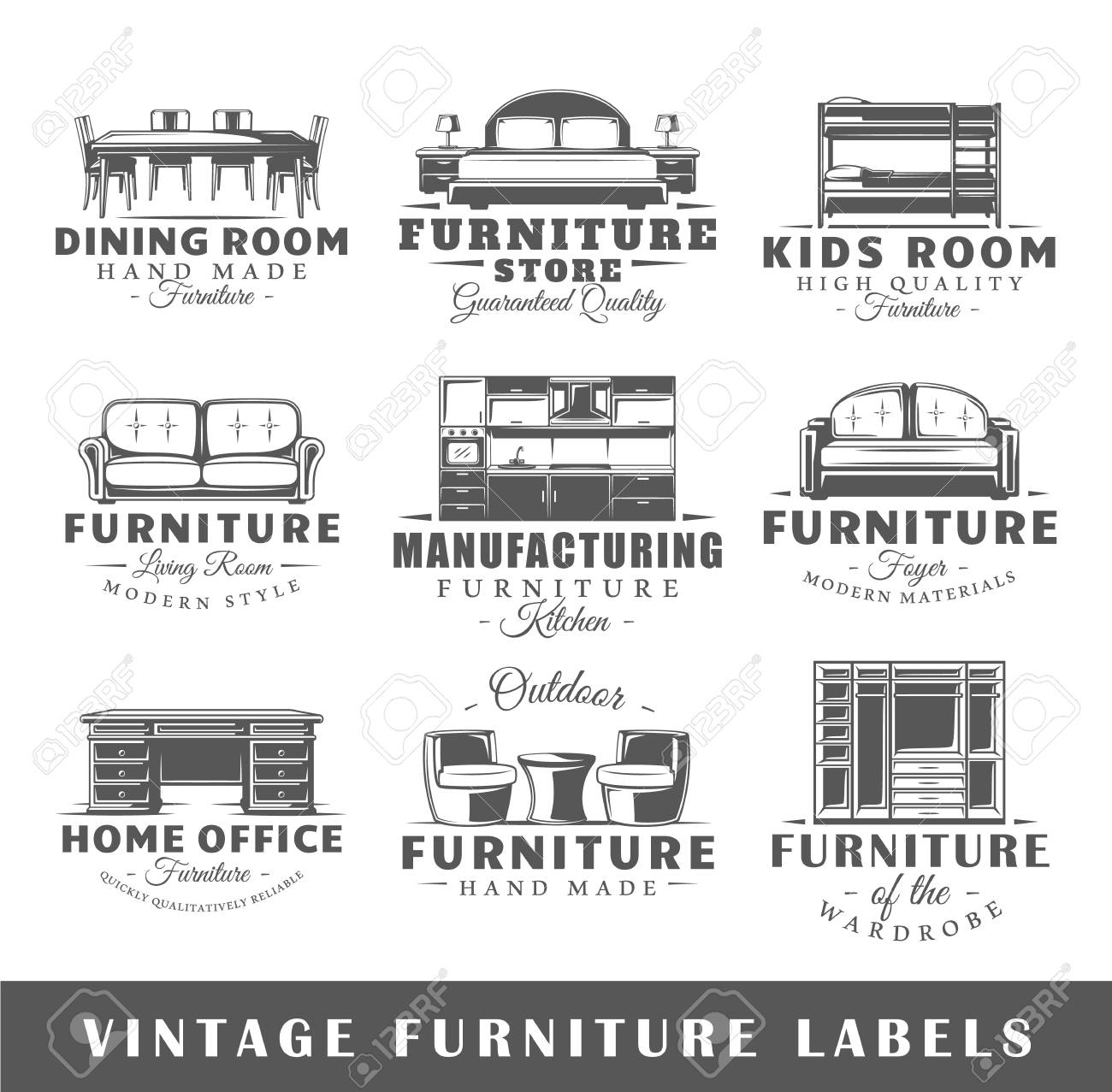 Vintage furniture logo Factory Set Of Vintage Furniture Labels Templates For The Design Of Logos And Emblems Collection Otterruninfo Set Of Vintage Furniture Labels Templates For The Design Of