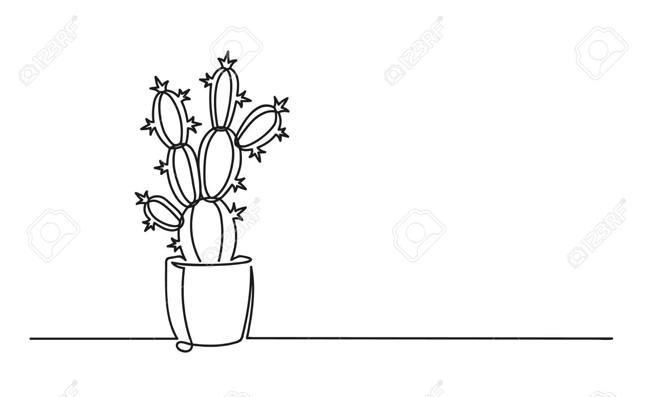 Continuous One Line Drawing Of A Flower In A Pot Beautiful Flower Royalty Free Cliparts Vectors And Stock Illustration Image 141819674
